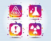 Attention and radiation icons. Chemistry flask sign. CO2 carbon dioxide symbol. Colour gradient square buttons. Flat design concept. Vector poster