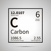 Carbon chemical element with first ionization energy, atomic mass and electronegativity values , simple black icon with shadow poster