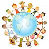 multicultural children on planet earth, cultural diversity, traditional folk costumes poster