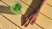 hand with mehendi on wood background muslim, bodyart, finger, cosmetic, embellish, girl poster