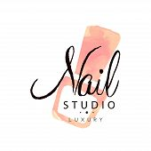 Nail studio luxury logo, design element for nail bar, manicure saloon, manicurist technician vector Illustration on a white background poster
