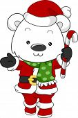 Illustration of a Polar Bear Dressed as Santa Claus poster