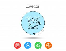 Alarm Clock Icon. Mechanical Retro Time Sign. Watch With Bell Symbol. Calendar, User And Business Ch