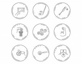 Football, Ice Hockey And Fitness Sport Icons. Basketball, Muscle And Bowling Linear Signs. Billiards