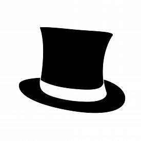 Black Top Hat. Gentleman Cylinder Hat Illustration.