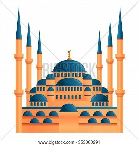 Istanbul Mosque Icon. Cartoon Of Istanbul Mosque Vector Icon For Web Design Isolated On White Backgr