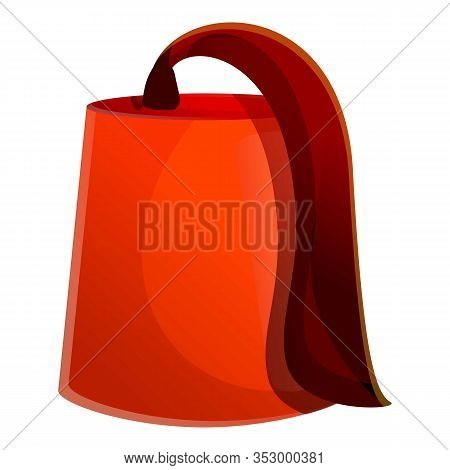 Turkish Red Hat Icon. Cartoon Of Turkish Red Hat Vector Icon For Web Design Isolated On White Backgr