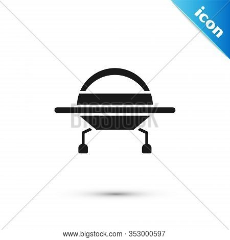 Grey Ufo Flying Spaceship Icon Isolated On White Background. Flying Saucer. Alien Space Ship. Futuri
