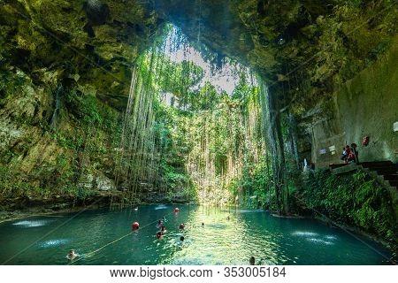Yucatan, Mexico Nov 30 2019 : People Swimming Ni Ik Kil Cenote Yucatan Mexico North America
