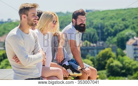 Communicative Skills. Summer Vacation. Men Woman Communicating Sky Background. Social Interaction. H
