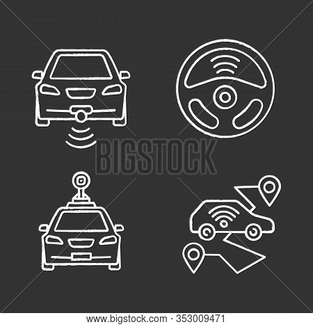 Smart Cars Chalk Icons Set. Nfc Autos. Intelligent Vehicles. Self Driving Automobiles. Autonomous Ca