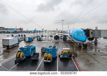 Amsterdam, Netherlands - June 5, 2019: Klm - Royal Dutch Airlines Airplanes Parked At The Gate Of Am