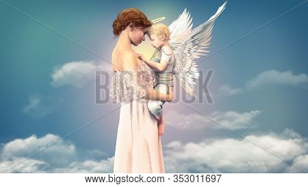 Portrait Of A Woman With A Child Angel, Concept Of Friendship Of An Older Woman And A Cute Small Ang