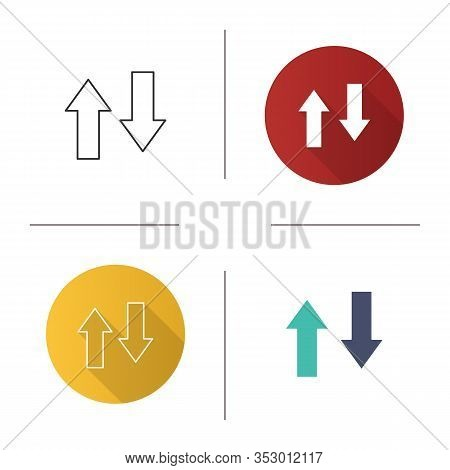 Vertical Swap Icon. Exchange Arrows. Vertical Flip. Import And Export. Flat Design, Linear And Color