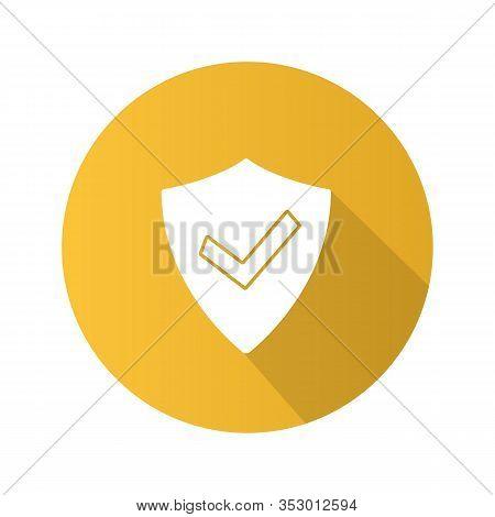 Verified User Flat Design Long Shadow Glyph Icon. Protection, Security. Antivirus Program Emblem. Su