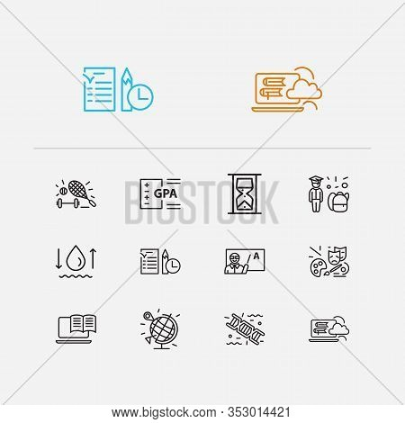 Elearning Icons Set. Genetics And Elearning Icons With Teacher Man, Hourglass And Exam Paper. Set Of