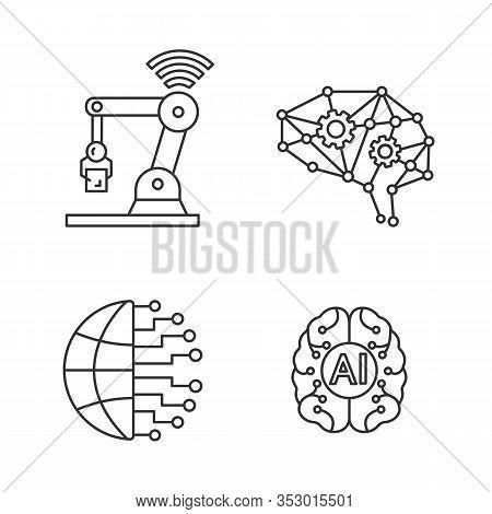 Artificial Intelligence Linear Icons Set. Thin Line Contour Symbols. Neurotechnology. Big Data, Deep