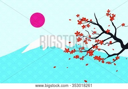 Landscape Of Japan Traditional Landmark With Fuji Mountain And Cherry Blossom. Japan Traveling Banne