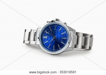 Luxury Watch Isolated On White Background. With Clipping Path. Blue Watch. Clean Watch. Men Watch. F