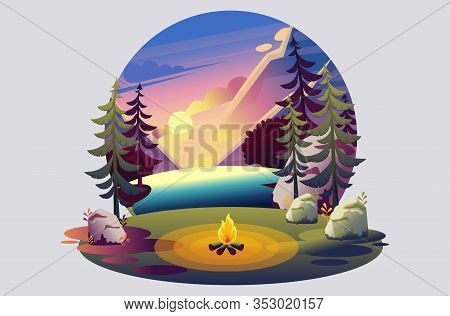 Bright Illustration Of A Campsite, A Fire On The Background Of The Sunset On The Lake. Flat 2d Chara