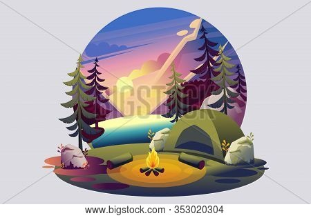 Bright Illustration Of A Campsite, A Tent With A Fire On The Background Of The Sunset On The Lake. F