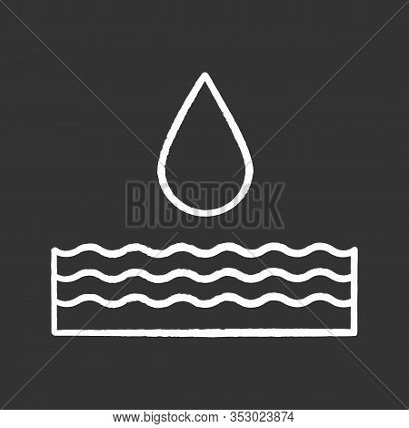 Water Energy Chalk Icon. Hydropower. Hydroelectricity. Isolated Vector Chalkboard Illustrations