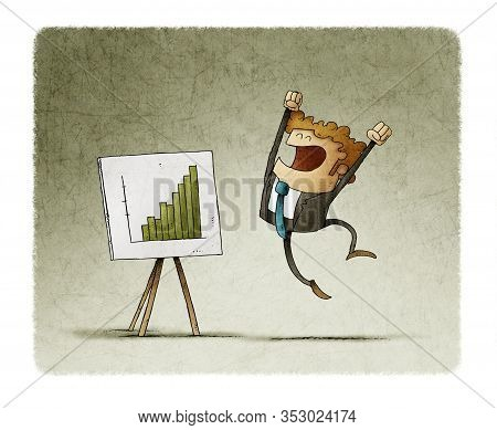 Businessman Jumps Of Happiness When Seeing A Panel With A Graph Of Good Results.