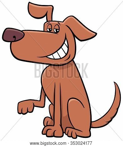 Cartoon Illustration Of Funny Brown Toothy Smiling Dog Animal Character