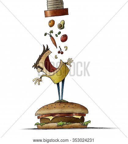 Man Climbed On Top Of A Large Hamburger Opens His Mouth Waiting For A Lot Of Healthy Food To Fall Ou
