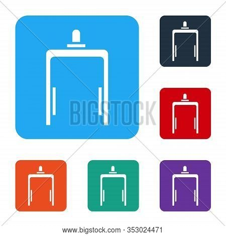 White Metal Detector In Airport Icon Isolated On White Background. Airport Security Guard On Metal D