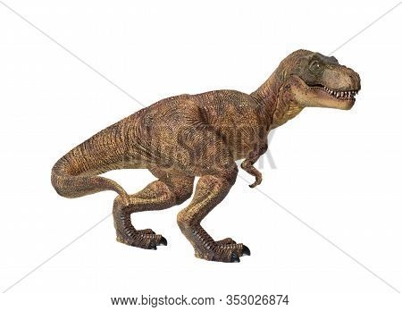 Portrait Of A Walking Tyrannosaurus Rex Isolated On White Background