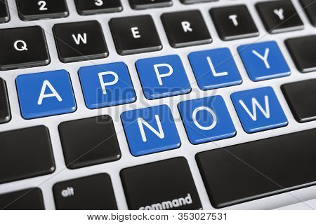Job Recruitment Concept. Apply Now Word On Computer Keyboard.