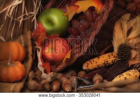 Autumn Still Life with Pumpkins, Cornucopia, Fruit and Vegetables.