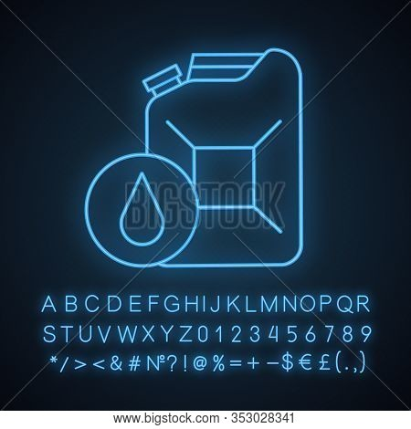 Steel Jerry Can Neon Light Icon. Gasoline Can. Petrol. Fuel Container. Glowing Sign With Alphabet, N