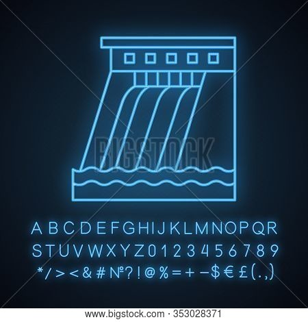 Hydroelectric Dam Neon Light Icon. Water Energy Plant. Hydropower. Hydroelectricity. Glowing Sign Wi