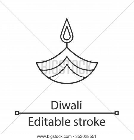 Diya Linear Icon. Thin Line Illustration. Islamic Oil Lamp. Diwali. Festival Of Lights. Burning Bowl