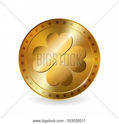 Vector Illustration Of Golden Coin For Saint Patricks Day