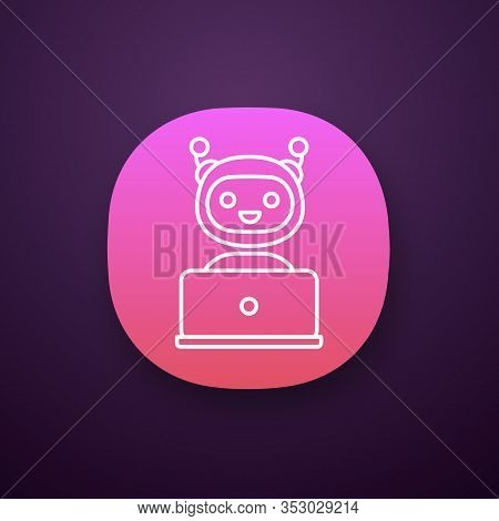 Chatbot App Icon. Chat Bot. Artificial Conversational Entity. Virtual Assistant. Artificial Intellig