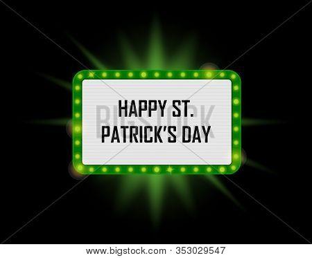 Vector Neon Shining St. Patricks Billboard In Retro Style