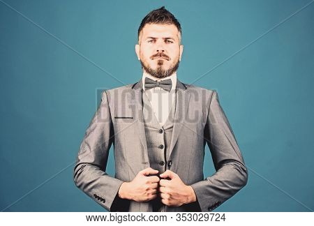 Serious Event Manager. Business In Modern Life. Mature Illusionist. Bride Groom Ready For Wedding. B