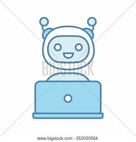 Chatbot Color Icon. Chat Bot. Artificial Conversational Entity. Virtual Assistant. Digital Support S
