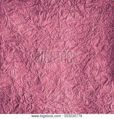 Magenta Craft Crumpled Paper Texture, Rough Background.