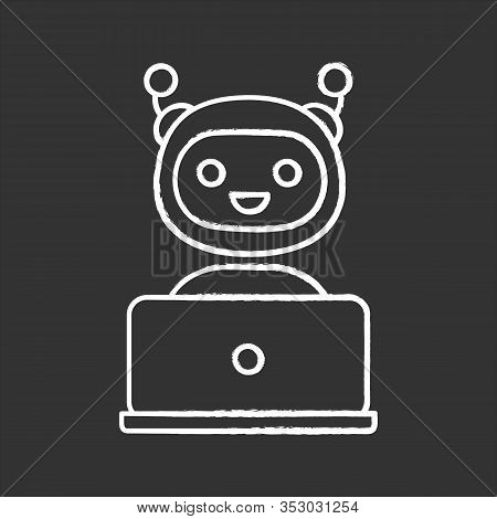 Chatbot Chalk Icon. Chat Bot. Artificial Conversational Entity. Virtual Assistant. Digital Support S