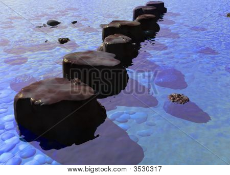 Row Of Stepping Stones In A Blue Ocean River Scene