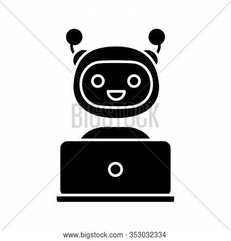 Chatbot Glyph Icon. Silhouette Symbol. Chat Bot. Artificial Conversational Entity. Virtual Assistant