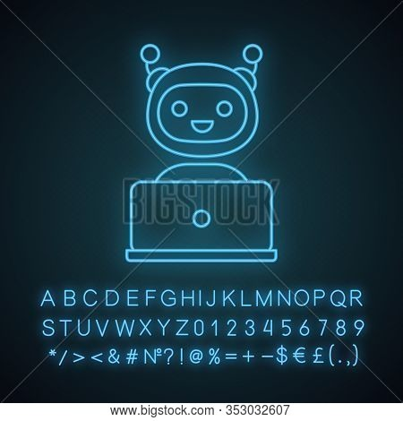 Chatbot Neon Light Icon. Chat Bot. Artificial Conversational Entity. Virtual Assistant. Artificial I