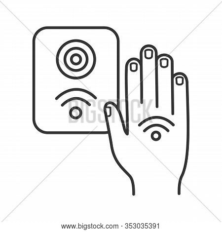 Nfc Reader Linear Icon. Rfid Access Control. Thin Line Illustration. Nfc Button And Hand Sticker. Ne