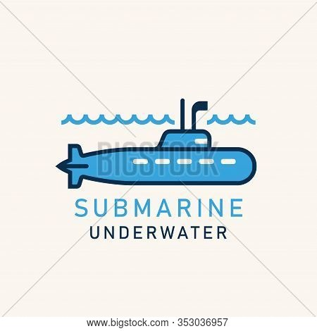 Flat Illustration Of A Submarine With A Periscope