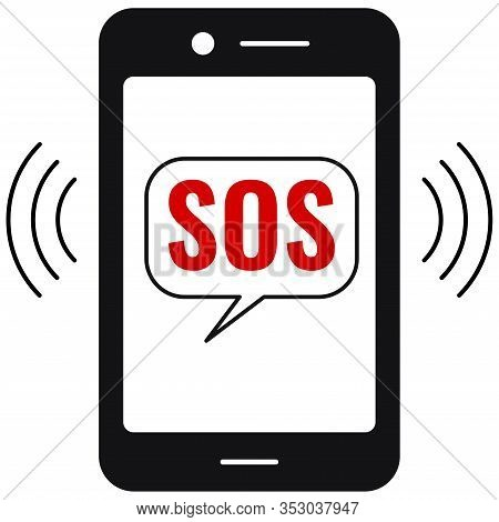 Sos Call Or Sms On Emergency Phone Vector Icon Isolated On White Background. Flat Simple Design Blac