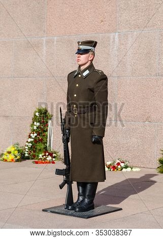 Riga, Latvia - March 19: A Soldier Of The Latvian National Armed Forces Guards The Freedom Monument